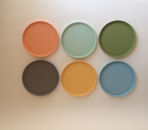 clockwise from top left: DREAMY ORANGE, RETRO GREEN, OLD COPPER GREEN, BEEHIVE BLUE, YUMMY YELLOW, VINTAGE LEAD GREY